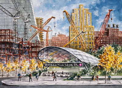 2015 Holiday Card Watercolor Artwork - Hudson Yards Subway Terminal
